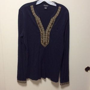 Lucky Brand Top Sz L Gold Bead Embellishment